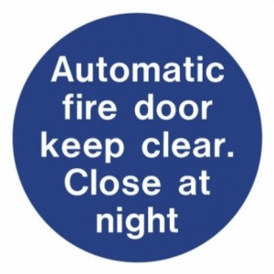 Auto fire door close at night